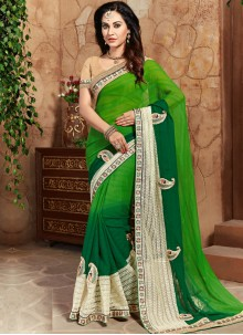 Mesmeric Embroidered Work Green Shaded Saree