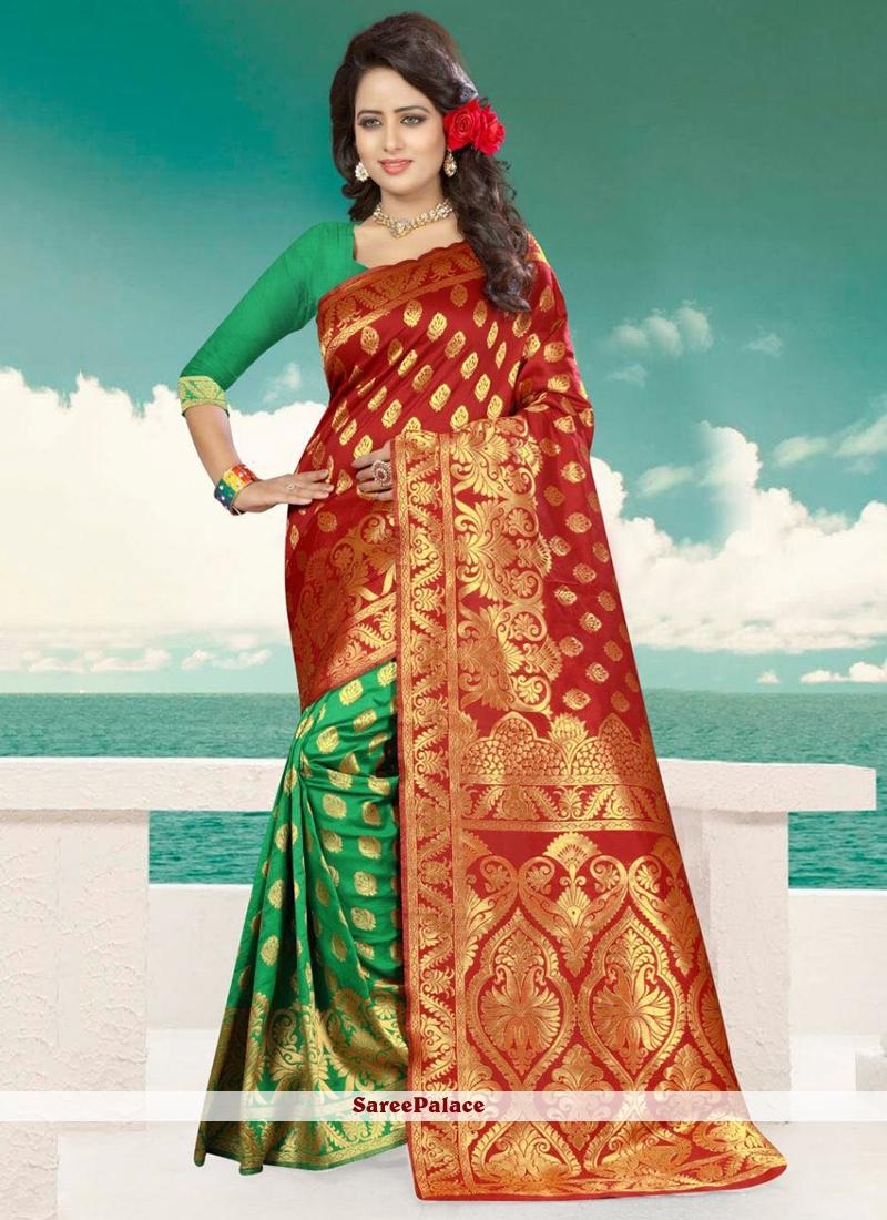 afc54fcd2c Buy Mesmeric Green and Red Weaving Work Banarasi Silk Bandhani Saree Online
