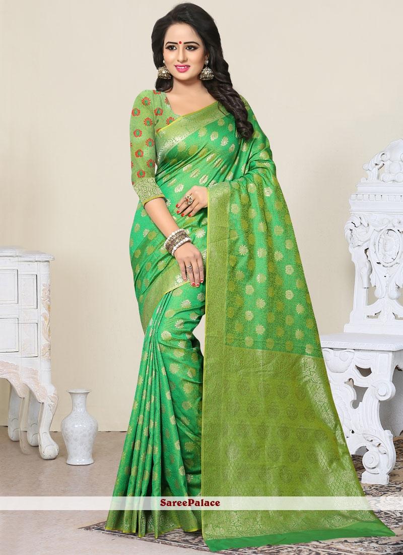 Mesmeric Green Weaving Work Designer Traditional Saree