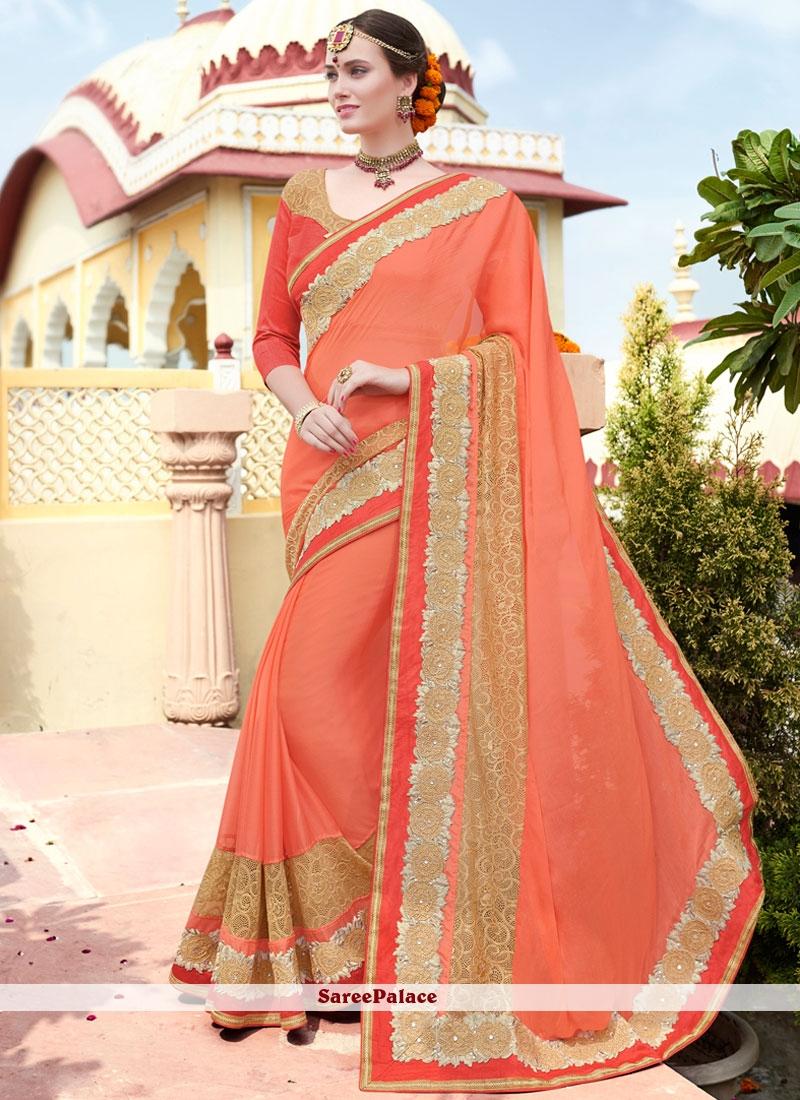 Orange Embroidered Faux Chiffon Saree