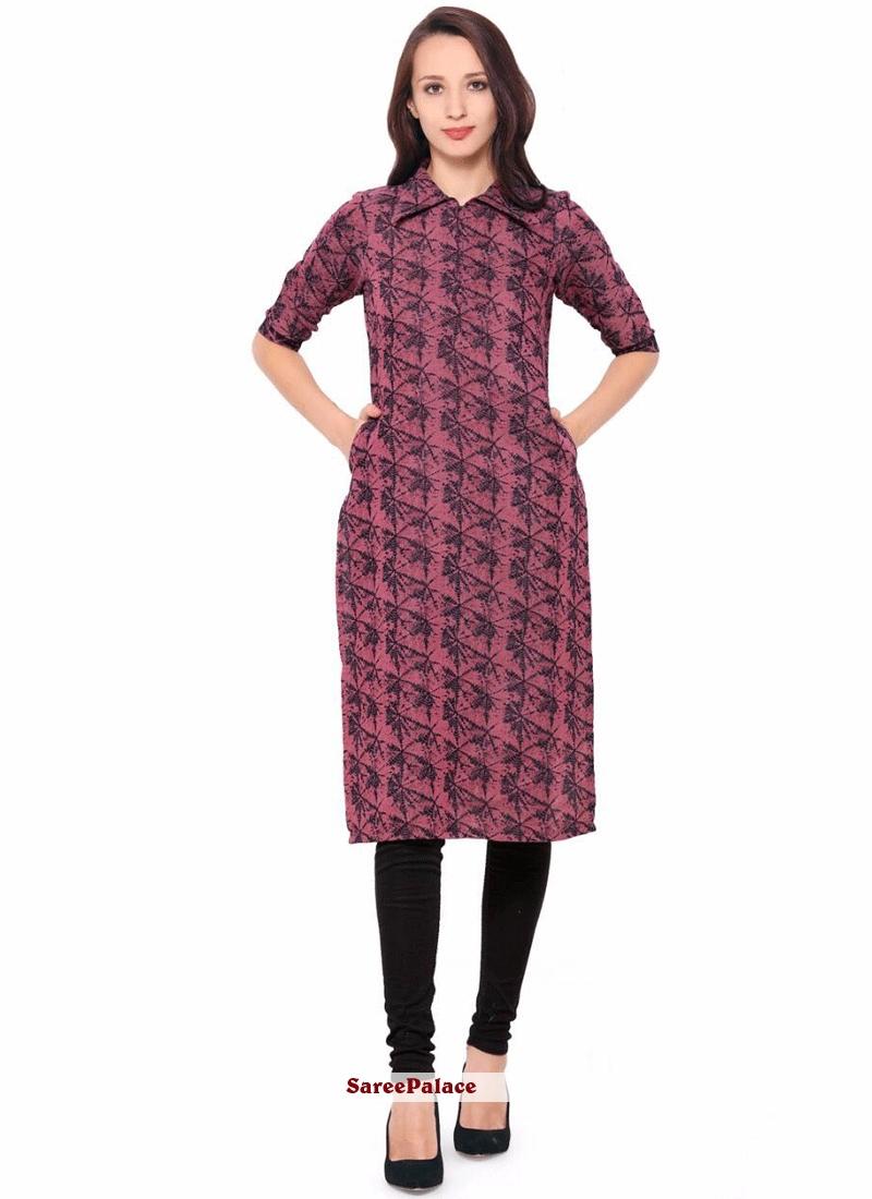 Buy Mesmeric Print Work Multi Colour Cotton Party Wear Kurti Online