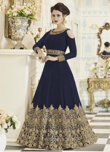 Mesmerizing Faux Georgette Navy Blue Embroidered Work Floor Length Anarkali Suit