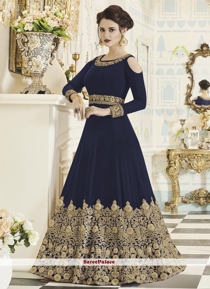 Mesmerizing Faux Georgette Navy Blue Embroidered Work Floor Length Anarkali Suit