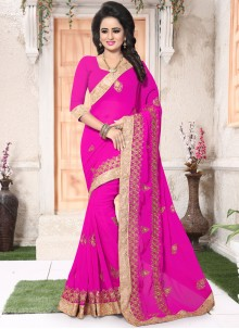 Mesmerizing Faux Georgette Patch Border Work Saree