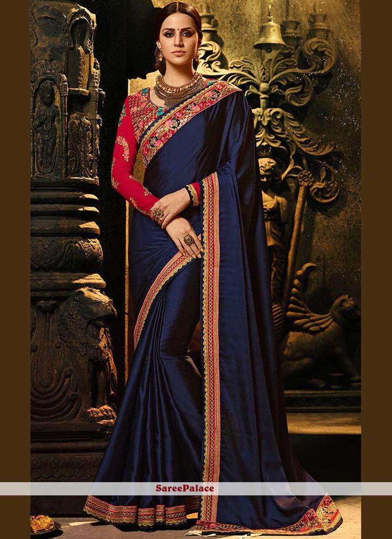 ae83321caa Buy Mesmerizing Navy Blue Patch Border Work Fancy Fabric Designer Saree  Online