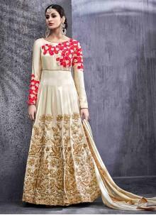 Miraculous Cream Lace Work Floor Length Anarkali Suit