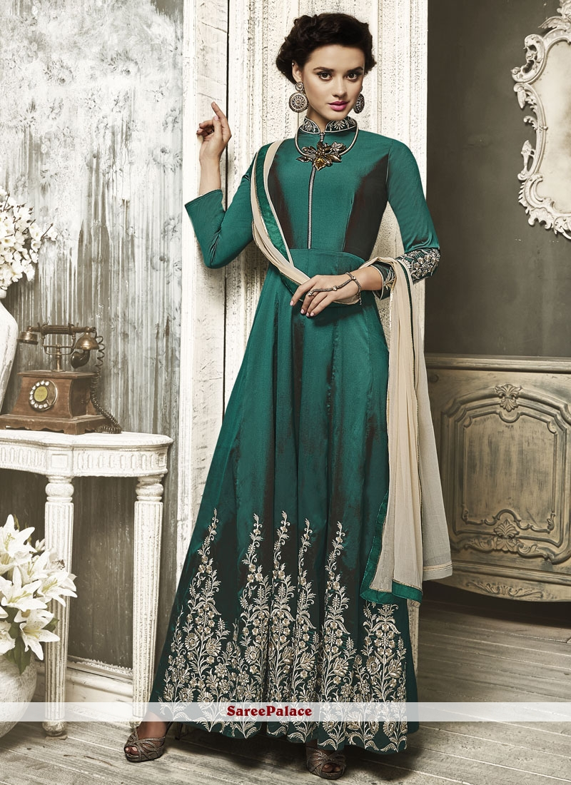Miraculous Embroidered Work Floor Length Anarkali Suit