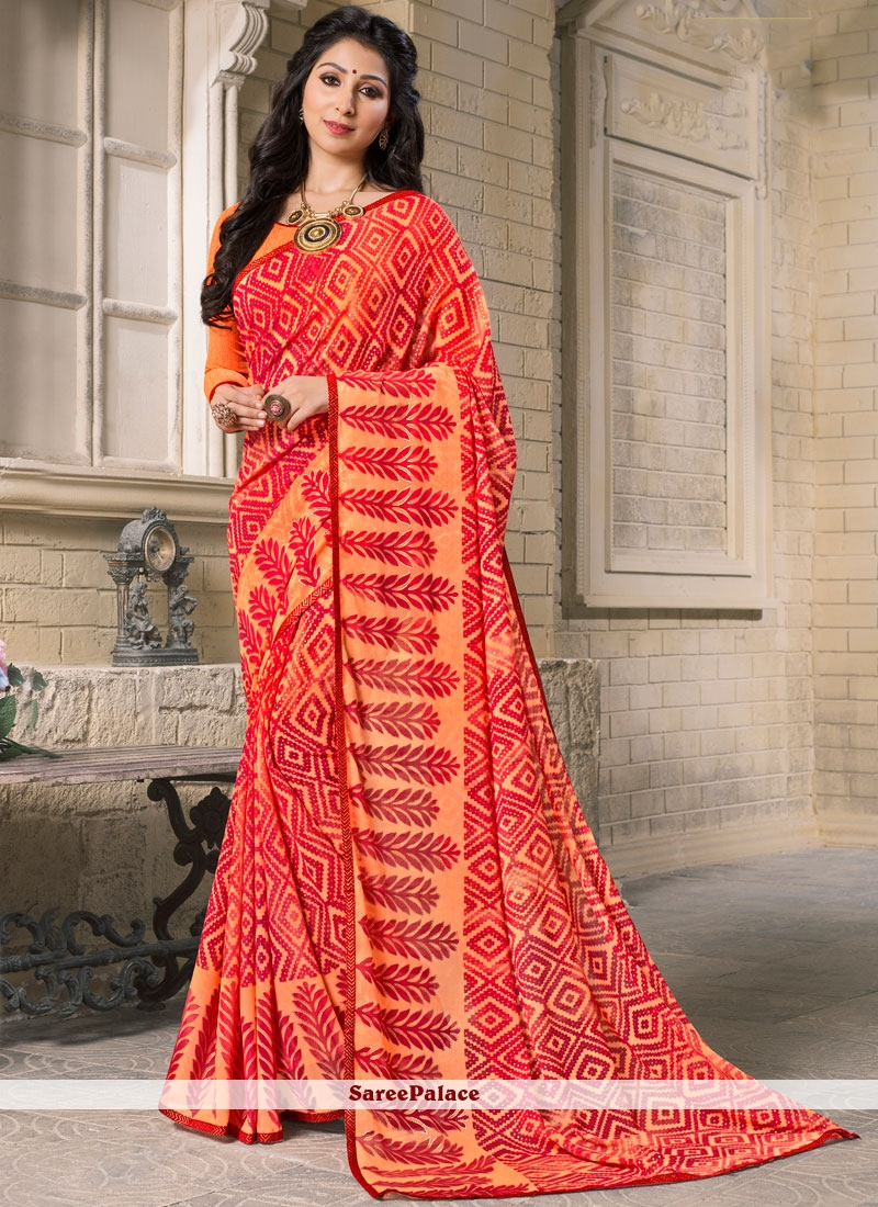 Miraculous Orange and Red Printed Work Work Georgette Casual Saree