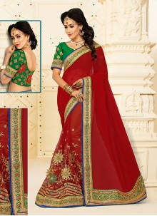 Miraculous Patch Border Work Designer Half N Half saree