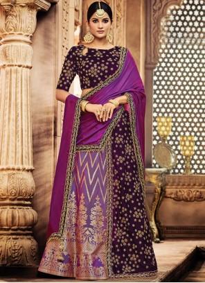 Miraculous Zari Work Purple Lehenga Choli
