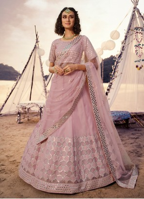 Mirror Pink A Line Lehenga Choli