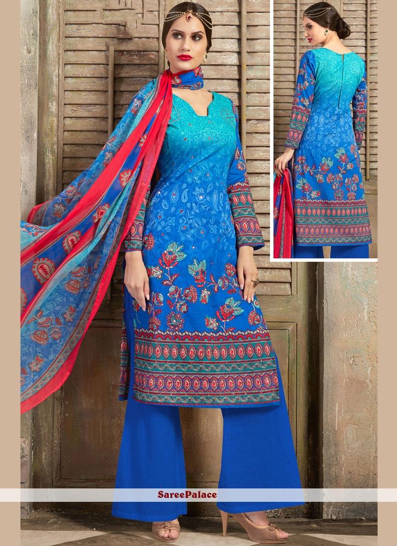 Mirror Aqua Blue Palazzo Salwar Suit