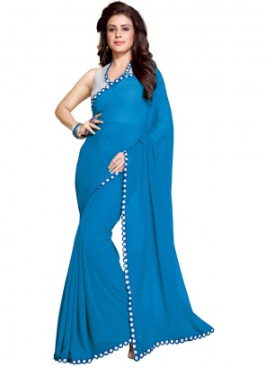 Mirror Faux Georgette Turquoise Saree
