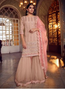 Mirror Net Peach Designer Pakistani Suit