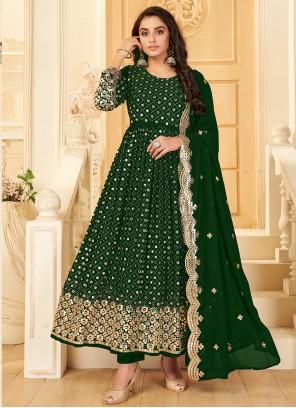 Green Mirror Party Salwar Kameez