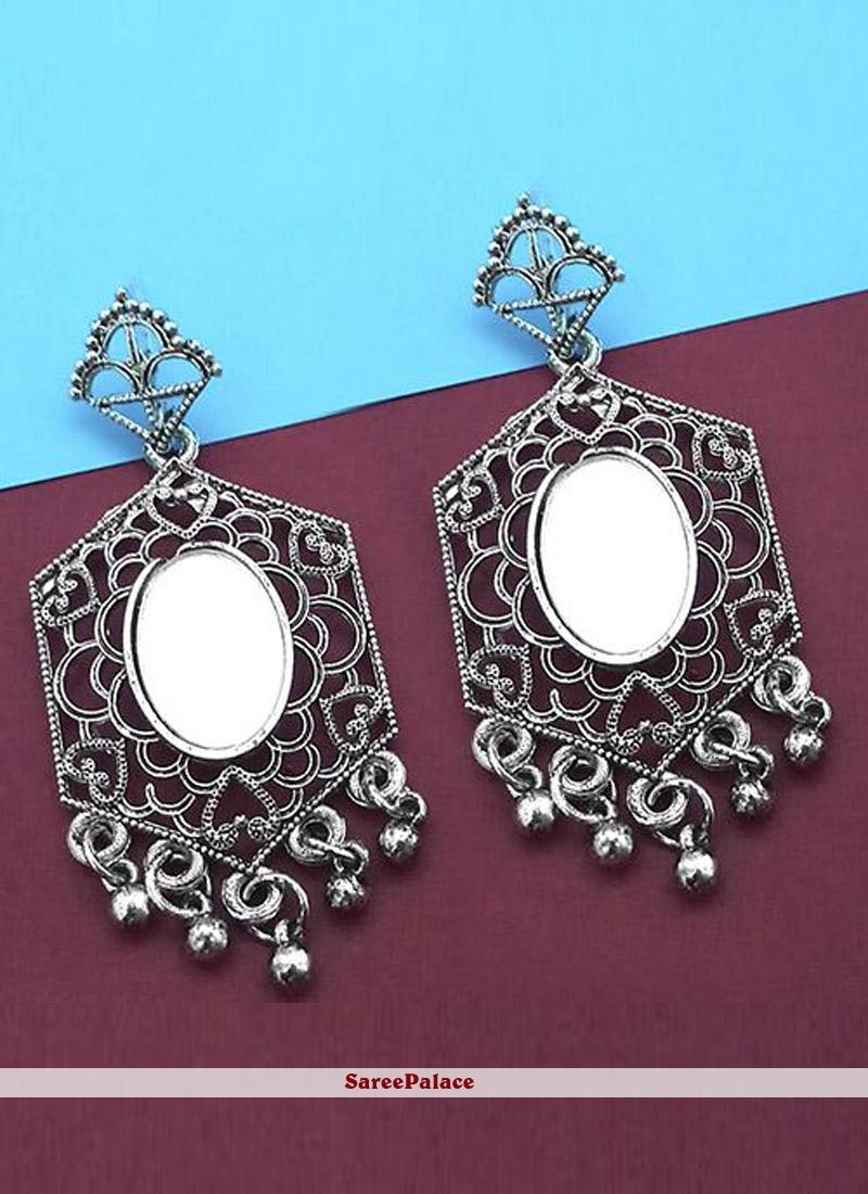 Mirror Silver Ear Rings
