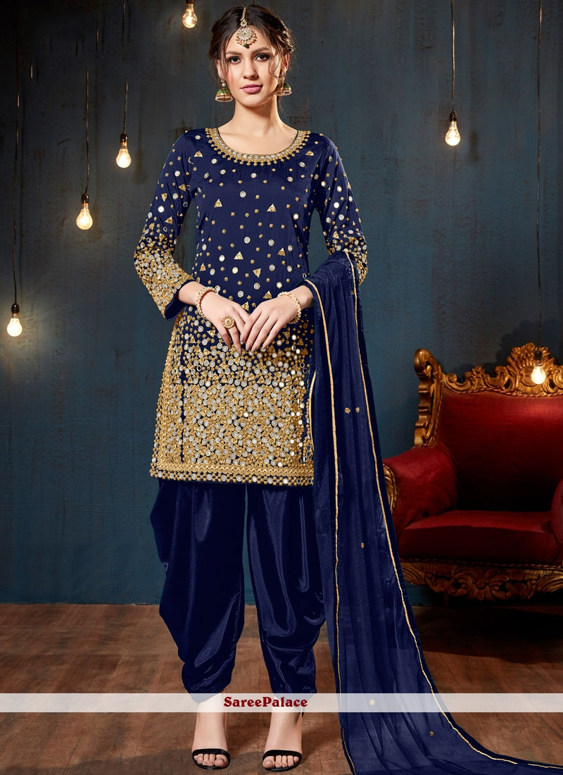 Blue Colour Mirror Tafeta Silk Designer Patiala Salwar Kameez