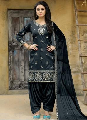 Mirror Work Grey Punjabi Suit