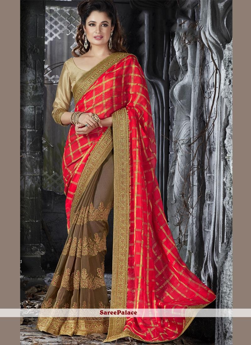 Mod Brown and Red Resham Work Designer Half N Half Saree