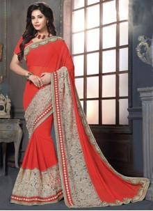 Mod Embroidered Work Georgette Classic Designer Saree