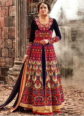 Mod Embroidered Work Velvet Designer Floor Length Salwar Suit