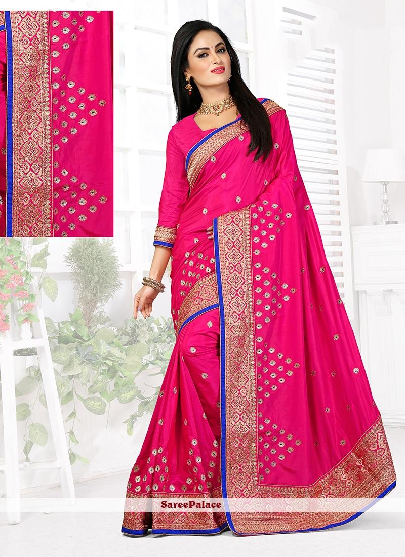 Mod Hot Pink Stone Work Art Silk Designer Traditional Saree