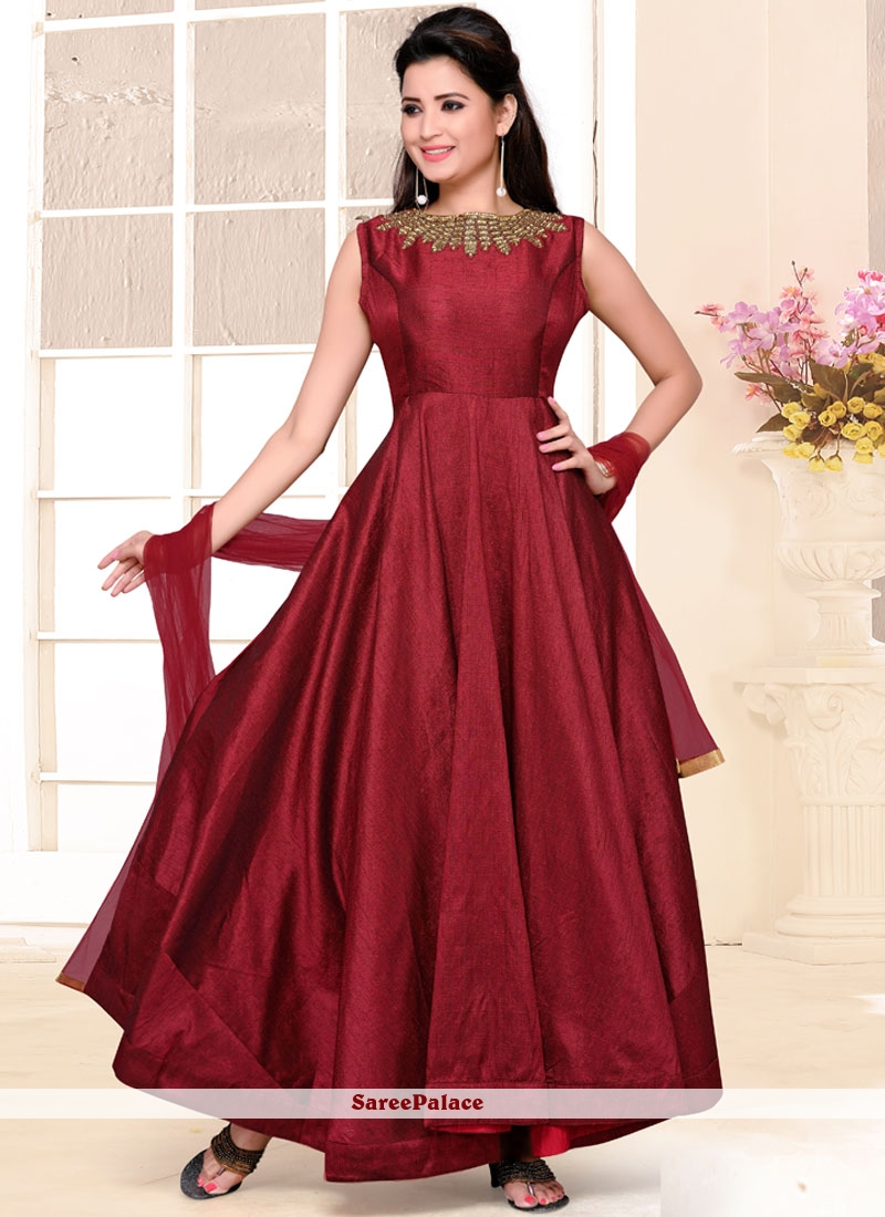 Buy Mod Plain Work Maroon Raw Silk Anarkali Salwar Suit Online