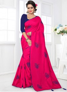 Modern Art Silk Embroidered Work Traditional  Saree