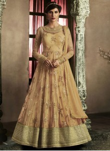 Modern Beige Resham Work Floor Length Anarkali Suit