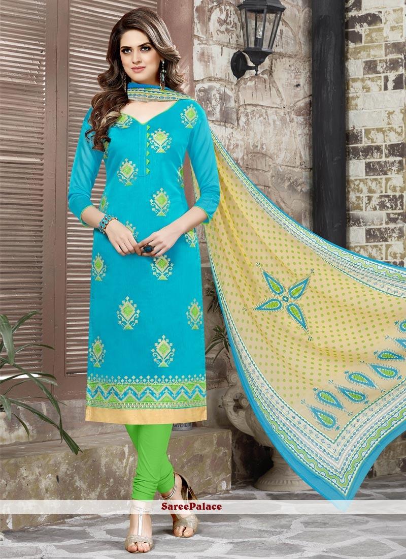 Modern Chanderi Cotton Turquoise Churidar Suit