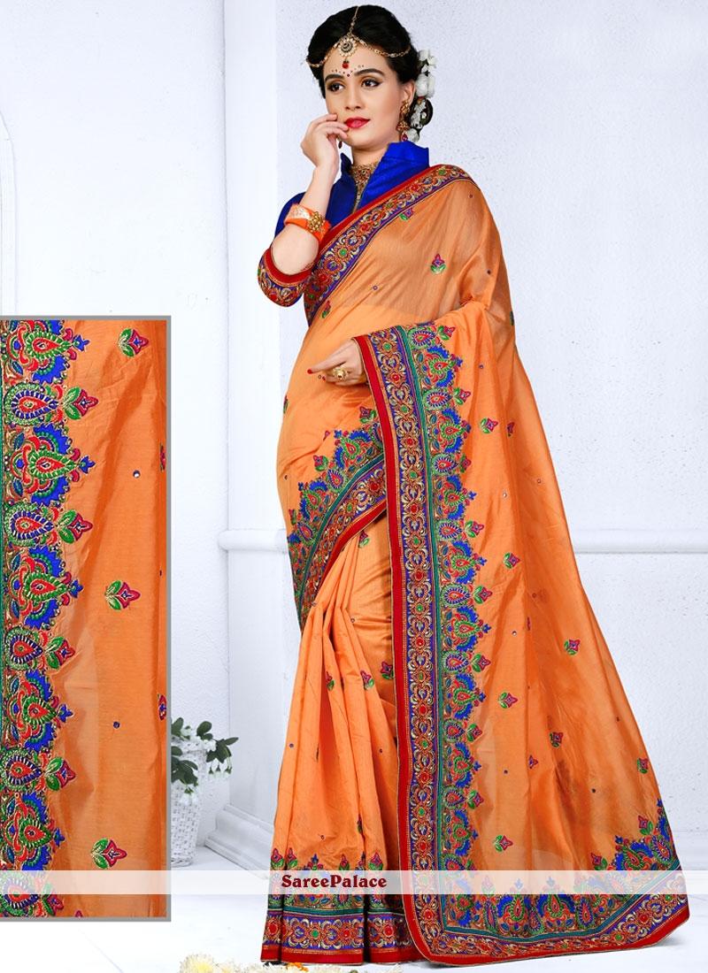 Modern Chanderi Orange Saree