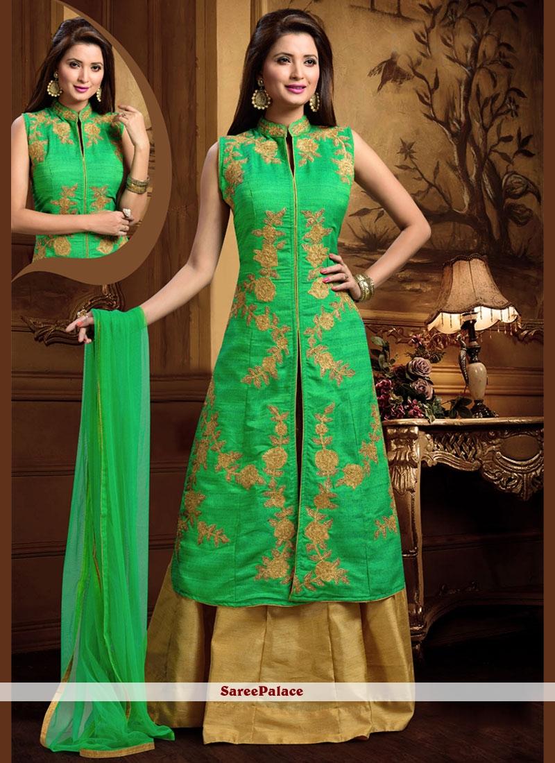 Modern Dupion Silk Long Choli Lehenga