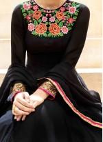 Modern Faux Georgette Black Floor Length Anarkali Suit