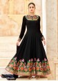 Modern Faux Georgette Black Floor Length Anarkali Suit