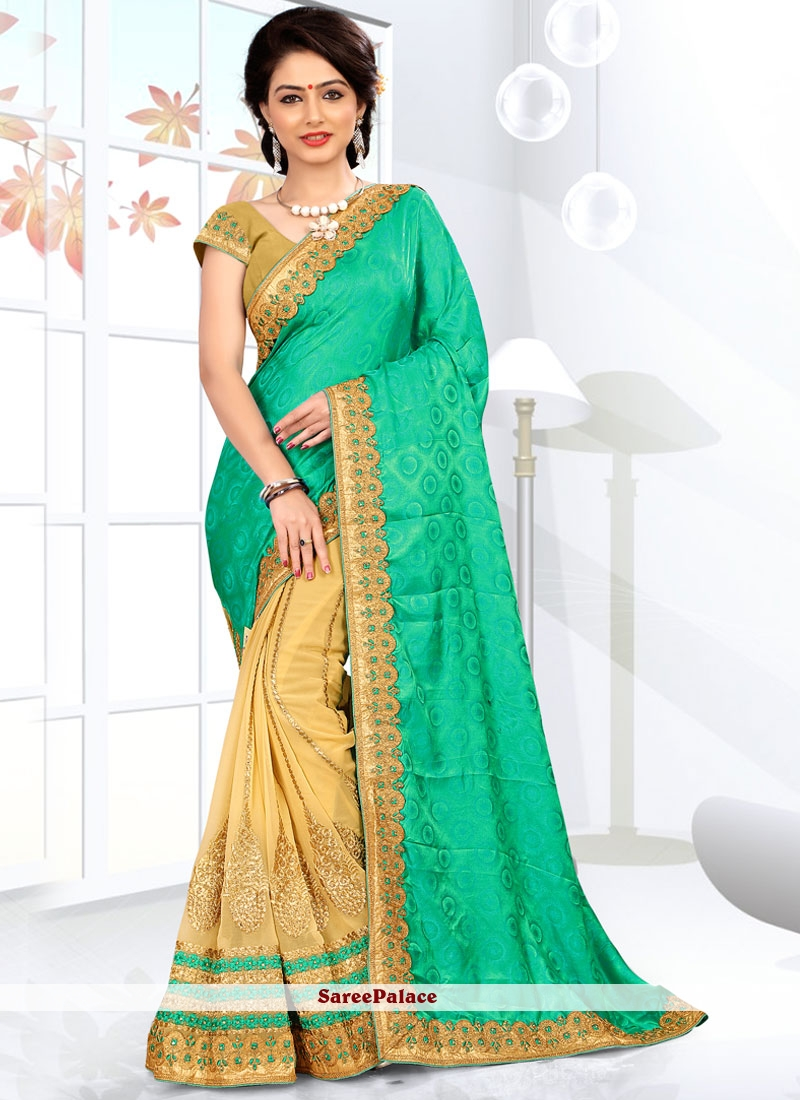 Modern Jacquard Silk Beige and Sea Green Half N Half Designer Saree