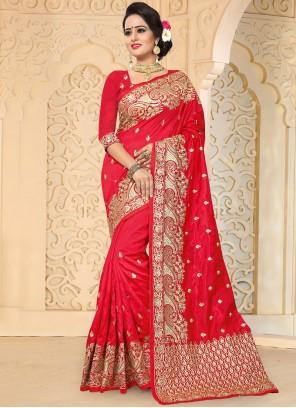Modern Red Resham Work Art Silk Designer Traditional Saree