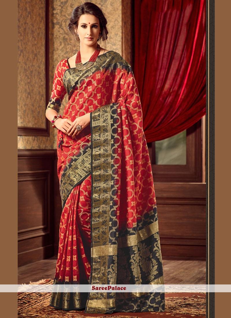 Red Weaving Work Art Raw Silk Saree