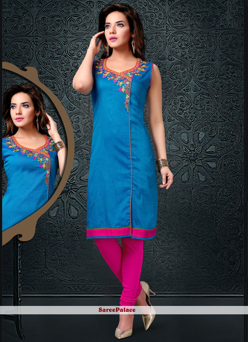 Modernistic Cotton Silk Embroidered Work Party Wear Kurti