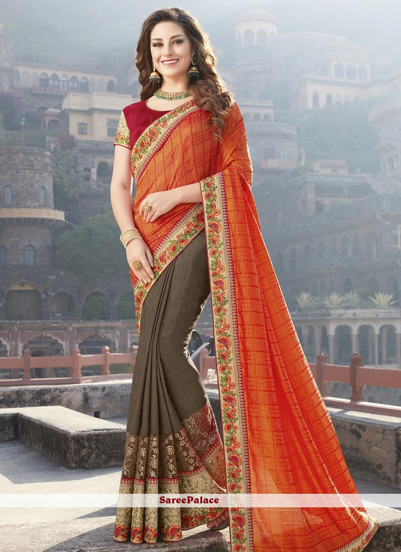2151e738e6 Buy Modernistic Fancy Fabric Embroidered Work Half N Half Saree Online