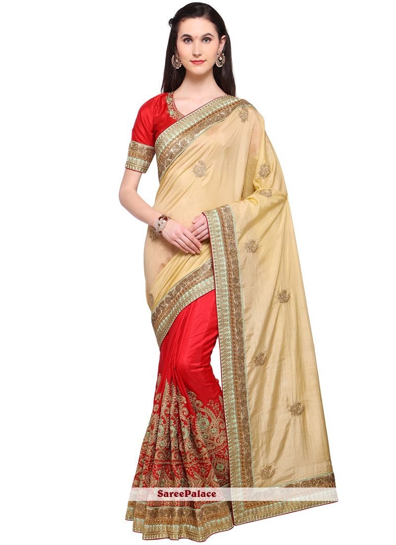 Modest Banglori Silk Cream and Red Traditional  Saree