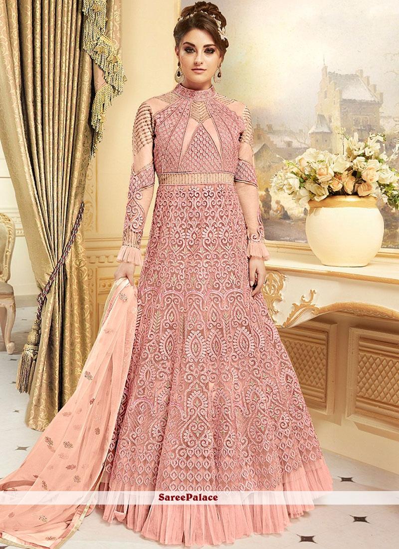 Modest Fancy Fabric Pink Resham Work Floor Length Anarkali Suit