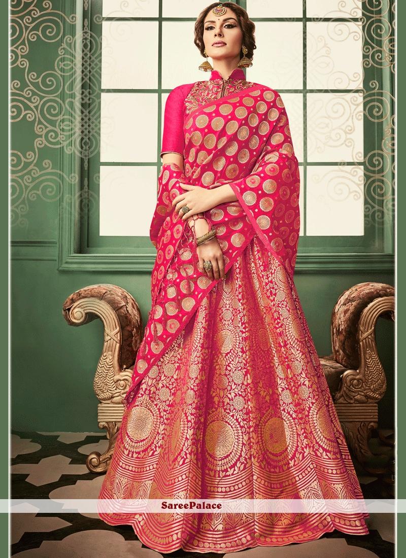 3cdc14191cfa Buy Modish Banarasi Silk Hot Pink Lehenga Choli Online