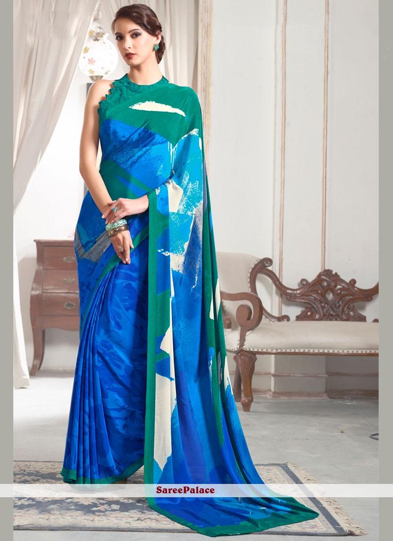 Modish Blue Printed Saree