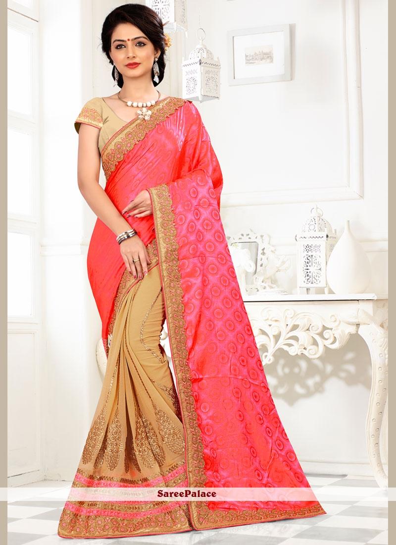 Modish Embroidered Work Half N Half Trendy Saree