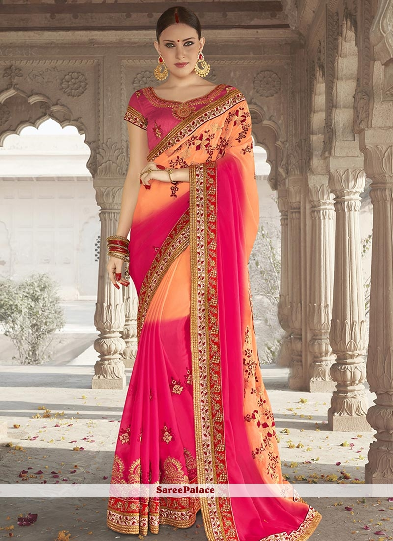 21805df927 Buy Modish Hot Pink and Orange Embroidered Work Faux Georgette Shaded Saree  Online