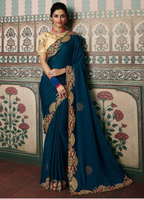 Morpeach  Resham Designer Saree