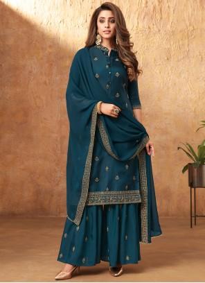 Morpeach  Silk Embroidered Designer Pakistani Salwar Suit