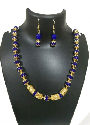 Moti Blue and Gold Necklace Set