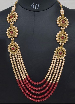 Moti Cream and Maroon Necklace Set