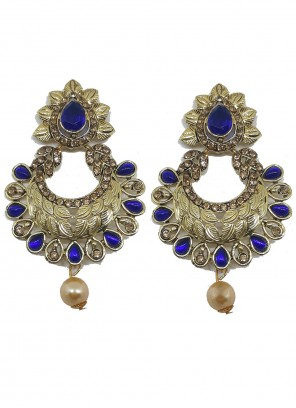 Moti Ear Rings in Blue and Gold